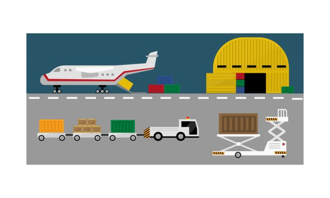 Air cargo delivery transportation, freight cargo transport vector Illustration