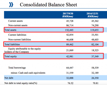 Cosco balance sheet (Cosco Q3 presentation)