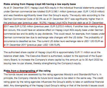 Equity position and credit rating risk (Source Hapag-Lloyd)