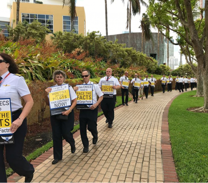 Atlas Air vs pilots clash gets court date as protests hit Miami