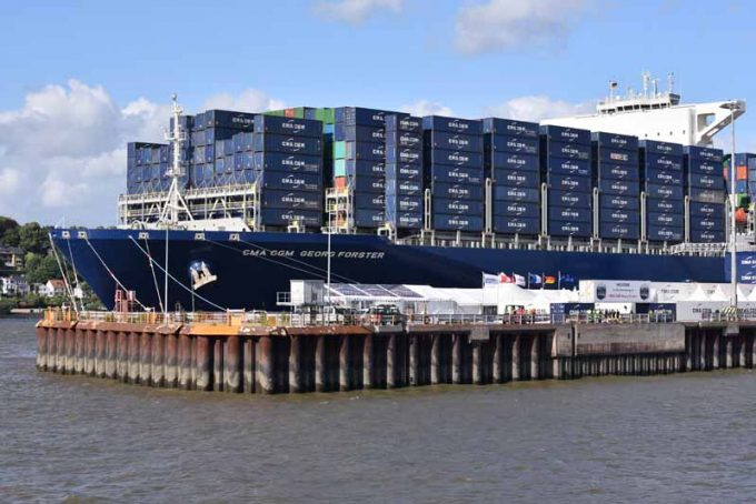 The CMA CGM GEORG FORSTER in Hamburg
