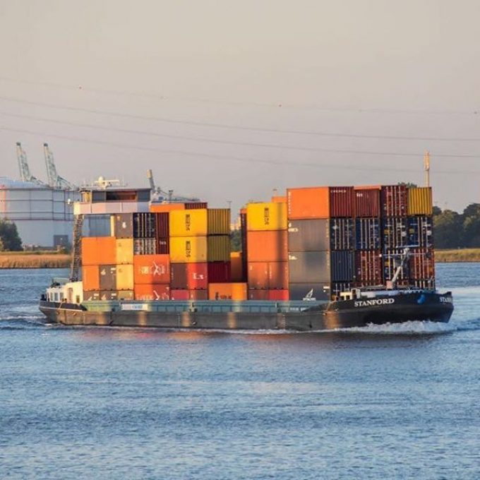 Overloaded barge Antwerp