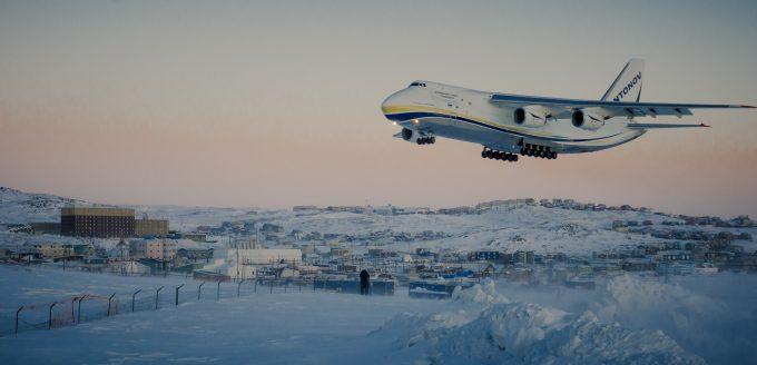 antonov AN-124-100 landing in Iqaluit, Canada