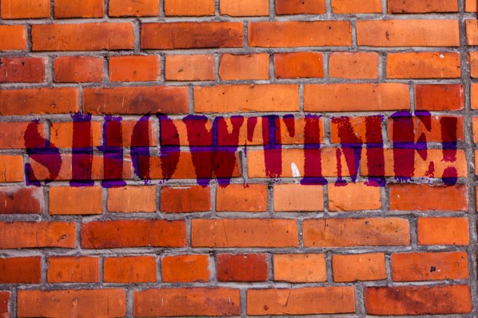 Text sign showing Showtime. Conceptual photo Time a Play Film Concert Perforanalysisce Event is scheduled to start Brick Wall art like Graffiti motivational call written on the wall.
