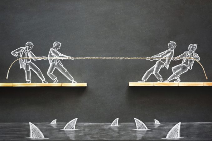Business Challenge Concept with Hand Drawn Chalk Illustrations on Blackboard