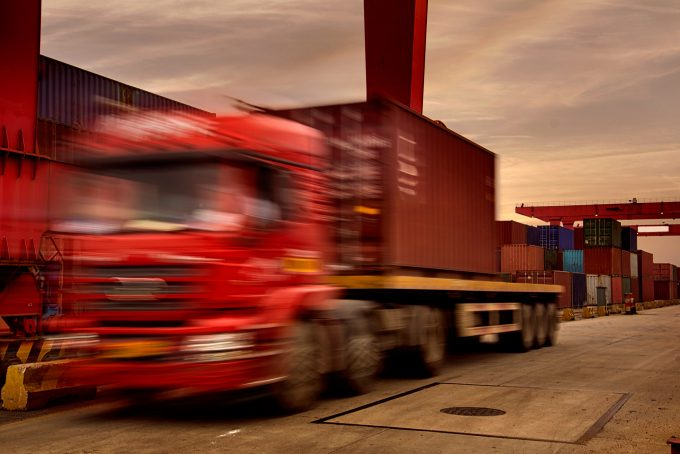 chinese truck at container terminal