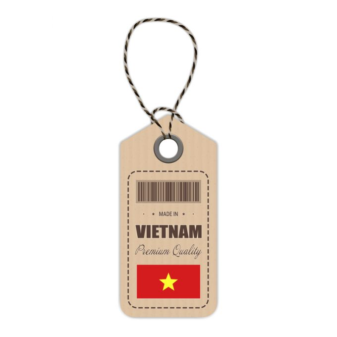 Hang Tag Made In Vietnam With Flag Icon Isolated On A White Background. Vector Illustration.