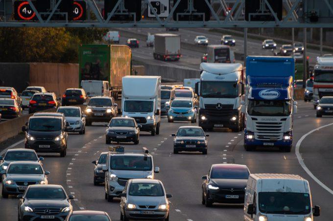 Evening traffic on British motorway M25