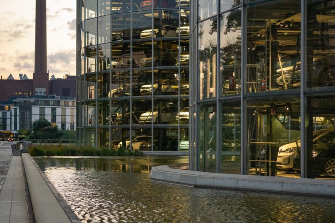 Wolfsburg, Lower Saxony, Towers with new cars ready for delivery in the Autostadt of Volkswagen
