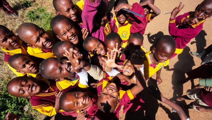 African Primary School Children on their lunch break
