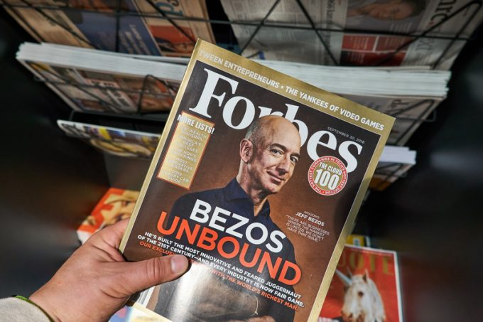 Forbes magazine with Jeff Bezos