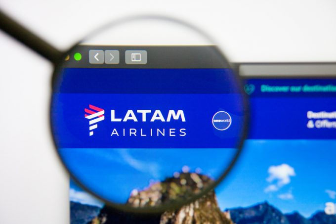 Los Angeles, California, USA - 14 February 2019: Latam Airlines website homepage. Latam Airlines logo visible on display screen.