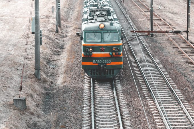 Minsk. Belarus. March 19, 2019. freight train. view from above