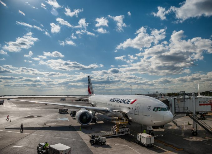 Close-up of Air France Boeing 777 aircraft and Jet bridge at JFK