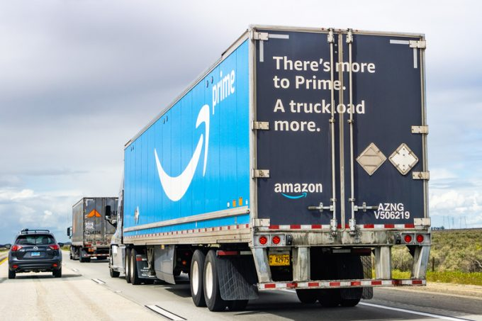 March 20, 2019 Los Angeles / CA / USA - Amazon truck driving on