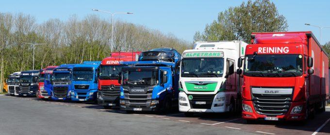 parked trucks europe