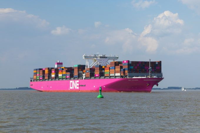 Ultra-large Container Ship ONE Columba on Elbe river