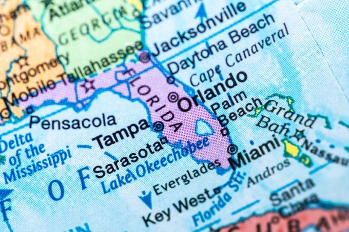 Map of Florida Close up