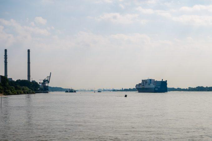 ConRO vessel Atlantic Sea passing power plant Wedel on its way t