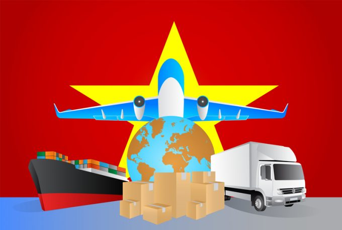 Vietnam logistics concept illustration. National flag of Vietnam from the back of globe, airplane, truck and cargo container ship