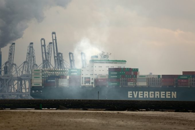 Cargo ship exhaust smoke