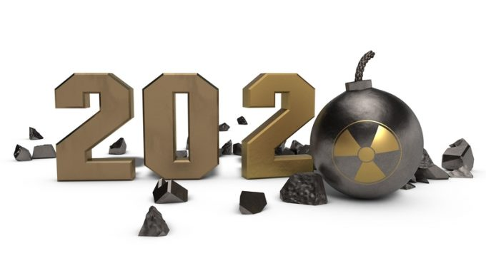 3D rendering of 2020 new year's date with shrapnel and antique mine, Cannonball instead of zero. There's radiation on the core. The idea of the threat of atomic war. Isolated on white background.