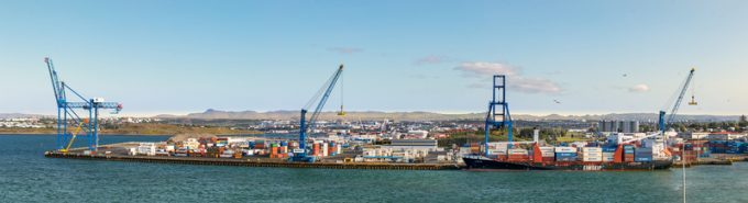 Panoramic view of the commercial Port of Reykjavik, Iceland.