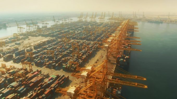 Aerial view of the Port of Jebel Ali, the busiest port in the Middle-East
