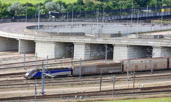 Channel Tunnel train, Folkestone, Kent, UK