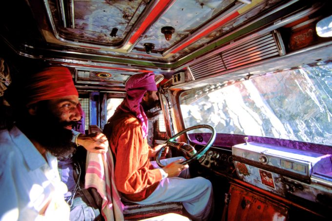 Indian Sikh drivers inside a local truck in India
