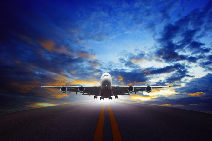 jet plane take off from urban airport runways use for air transportation and business cargo logistic industry