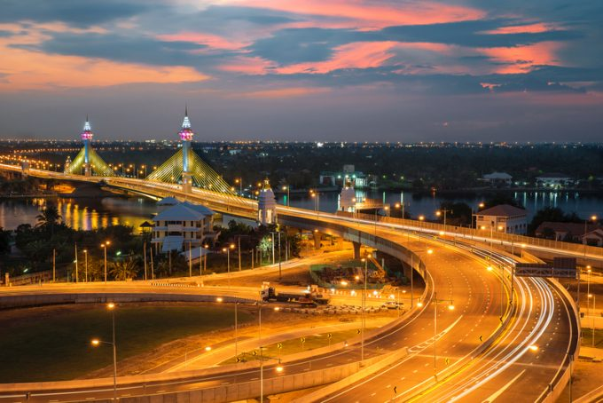 Highway and Suspension bridge in Bangkok ,Thailand
