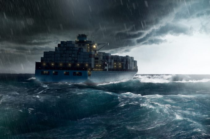 Cargo Ship in a Storm