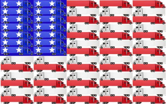 USA United States America Truck Flag Red White Blue