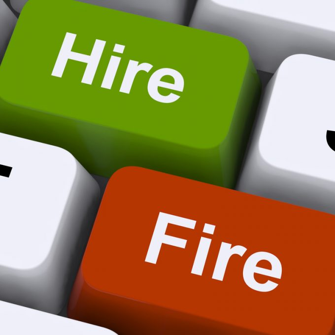 Hire Fire Keys Shows Human Resources Or Recruitment