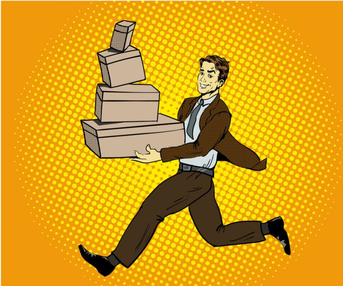Pop art delivery concept vector illustration. Man handing box