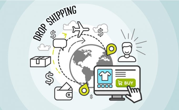 Drop shipping concept icon flat style. Dropship, cargo and buy,