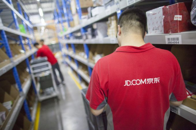 JD.com staff at Northeast China based Gu'an warehouse distribution facility