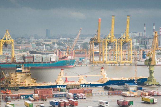 The big port St.-Petersburg, aerial view