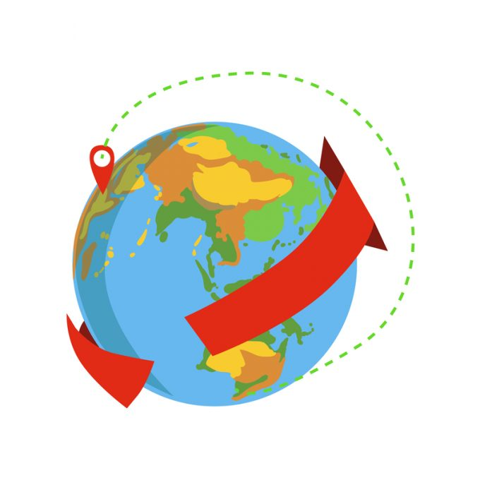 Globe With Red Arrow Going Around And Marked Destination Delivery Service Company Symbol Of Worldwide Coverage
