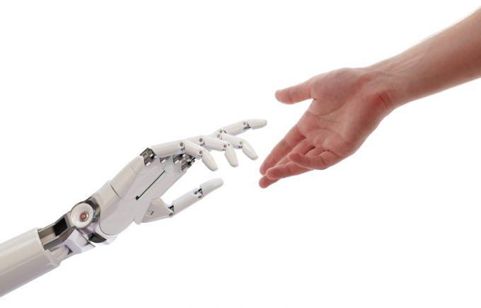 robot and man