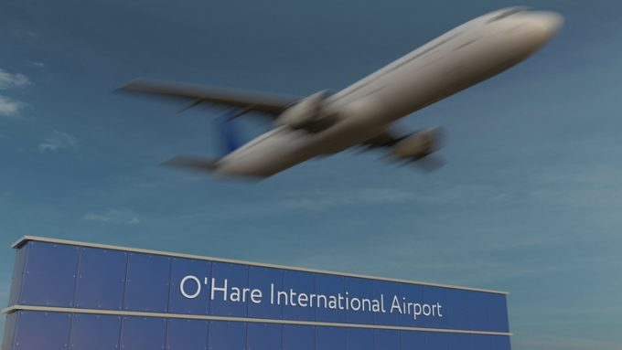 Commercial airplane taking off at O'Hare International Airport Editorial 3D rendering