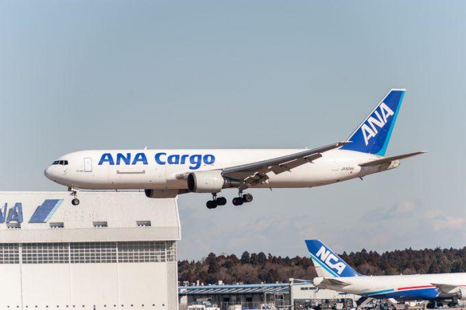 NARITA - JAPAN, JANUARY 25, 2017: JA8286 Boeing 767 ANA Cargo All Nippon Airways Landing in International Narita Airport, Japan.