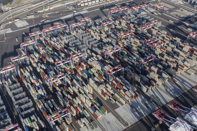 Aerial View Port of Long Beach Containers