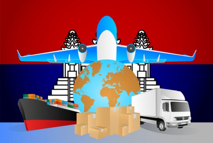 Cambodia logistics concept illustration. National flag of Cambodia from the back of globe, airplane, truck and cargo container ship