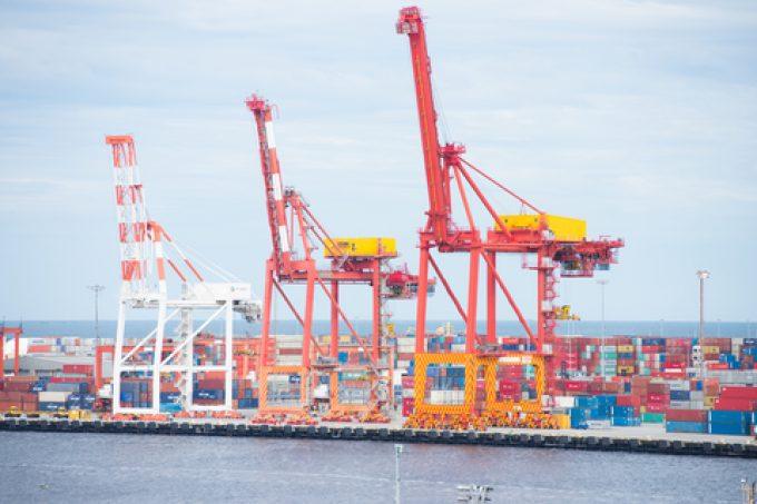 Container cargo and cranes Fremantle port Australia