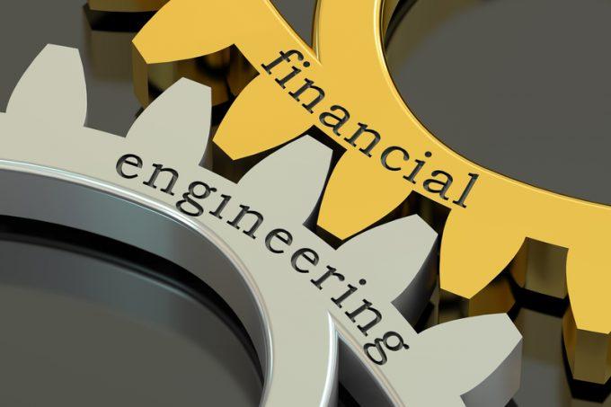 Financial Engineering concept on the gearwheels, 3D rendering