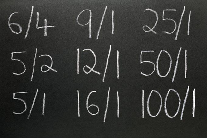 Betting odds written on a blackboard.