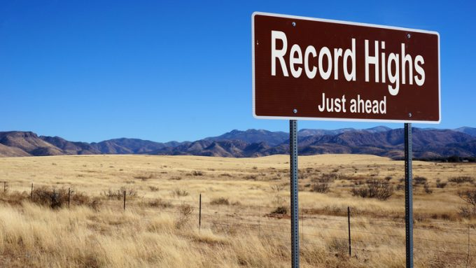 Record Highs brown road sign