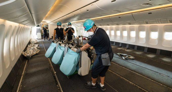 Removing passenger seats of B777-300ER